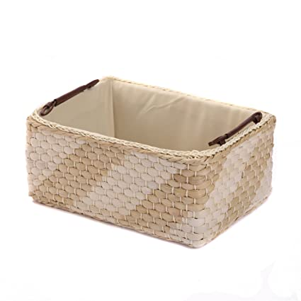 Storage Baskets Containers, Maize Bins Rectangular  Boxes.Kingwillow(Natural) (Large)