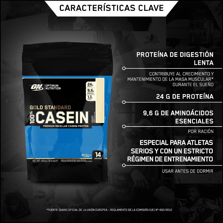 Optimum Nutrition 100% Gold Standard Casein, Proteínas en Polvo con BCAA Aminoacidos Ramificados y Esenciales, para recuperación, bajo en Azúcar, ...
