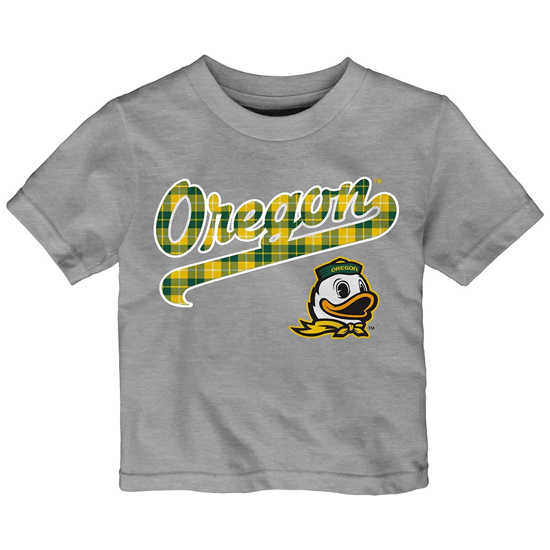 Outerstuff NCAA Oregon Ducks Toddler Flannel Script Short Sleeve Tee 3T Heather Grey