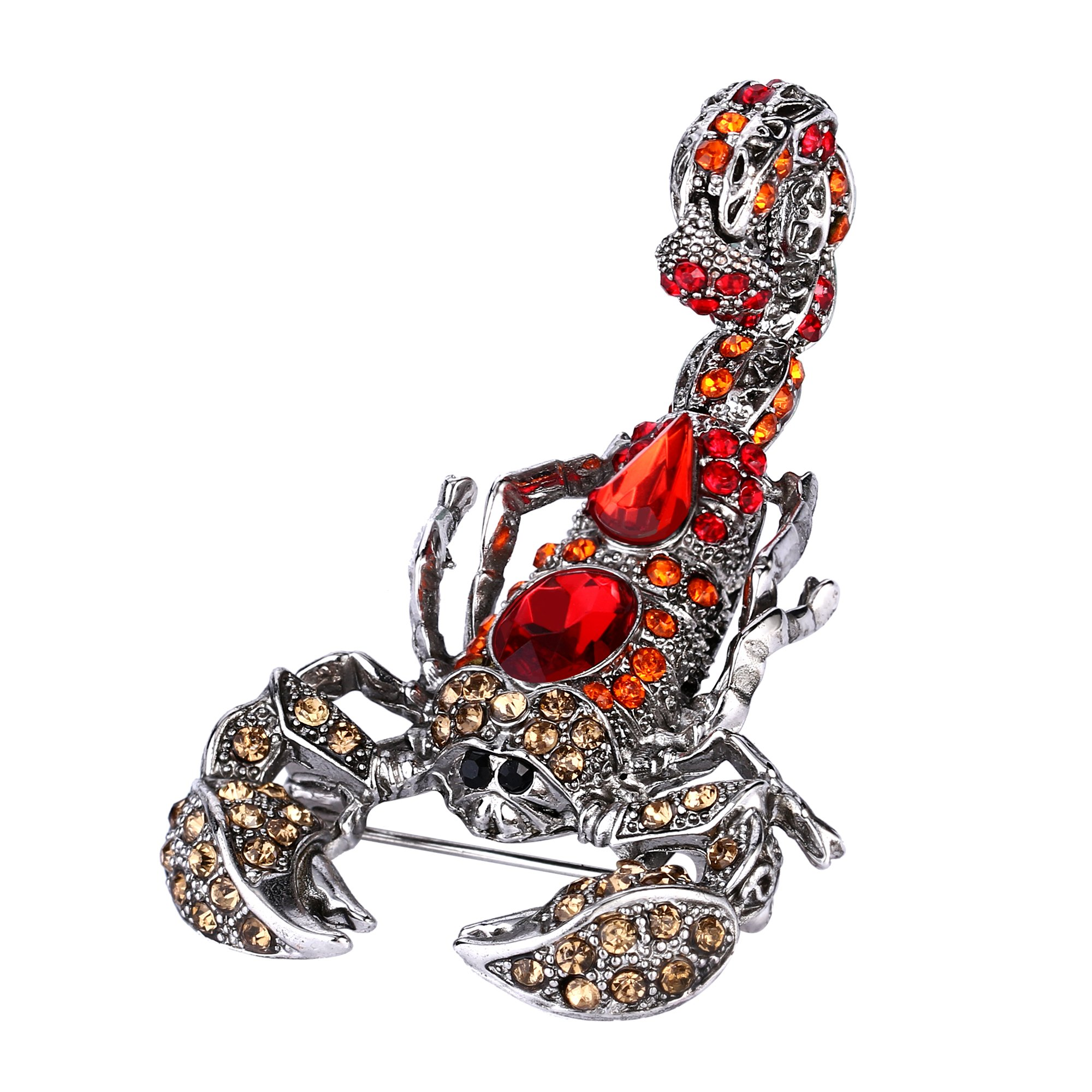 EVER FAITH Crystal Vintage Style Scorpion Animal Brooch Red w/ Orange Red Antique Silver-Tone