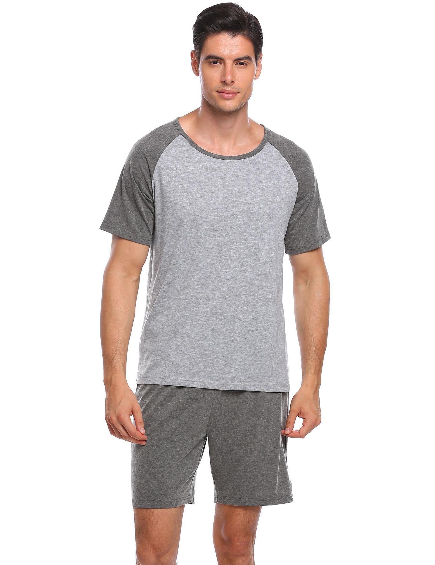 Ekouaer Mens Raglan Short-Sleeve Top With Shorts Pajama Sets, Grey ,Medium