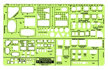 Amazoncom Rapidesign Plumbing Fixtures Plan Template 1 Each R26