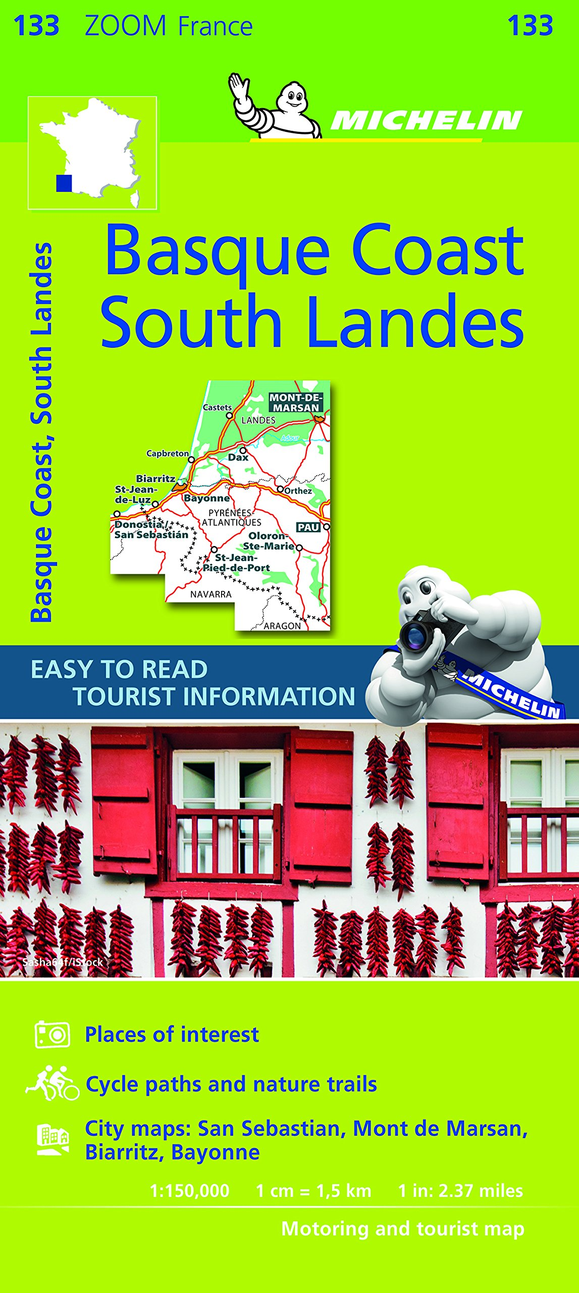 Map South Of France Coast.Michelin Basque Coast South Landes Zoom Map 133 Michelin Zoom