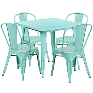 Flash Furniture 31.5u0027u0027 Square Mint Green Metal Indoor Outdoor Table Set  With 4