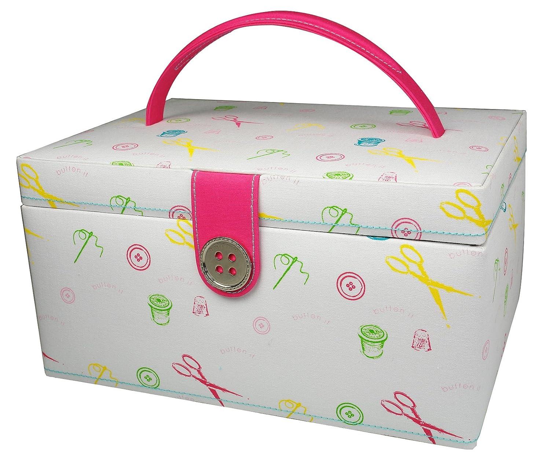 Button It Nähkasten, farbiges Muster, pinkes Futter, Medium: Amazon ...