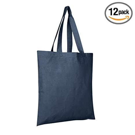 2a95a3c9f3 BagzDepot 12 Pack Durable Cotton Canvas Reusable Blank 15inch x 16inch  Standard Size Grocery Plain Tote Bags with 21 inches Supportive Fabric  Handles ...