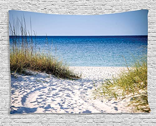 Ambesonne Beach Tapestry, Path to Beach Clear Sky Bushes Grasses Windy Sunny Day Peaceful Gulf of Mexico, Wide Wall Hanging for Bedroom Living Room Dorm, 80 X 60 , Green White
