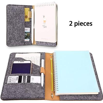 2 Fundas de Cuaderno, Cubierta de Bloc de Cuero de Imitación con Forro de Fieltro para Empresarios Periodistas Viajeros(Marrón)