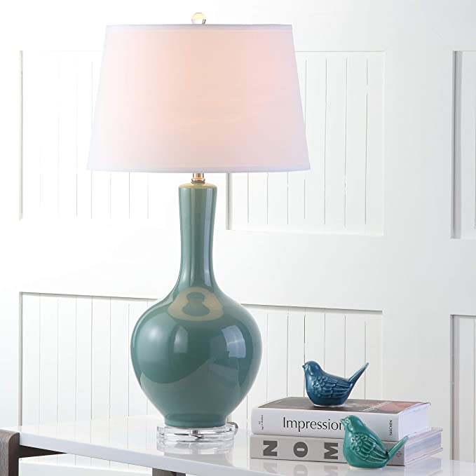 Amazon Com Safavieh Lighting Collection Blanche Gourd Teal 32 Inch Table Lamp Set Of 2 Home Kitchen
