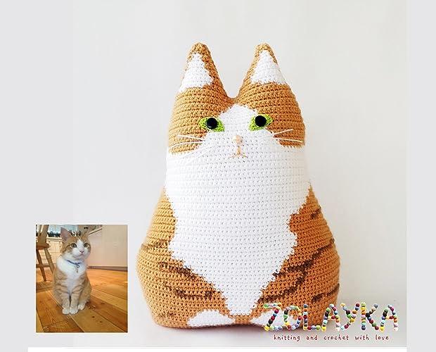Amazon Crochet Custom Cat Portrait Pillow Pet Memorial Gift