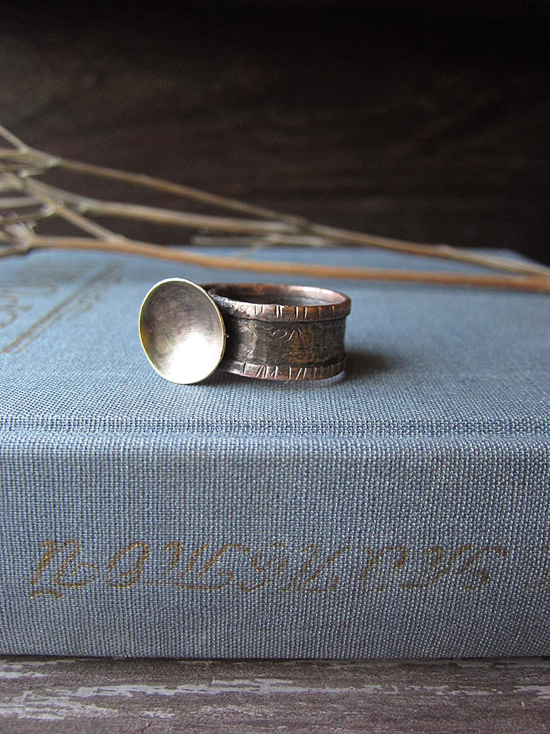 V-shank Ring Mixed Metal Ring Gift Ring Unique Hand-made Sterling Silver Ring Sterling silver Ring with Brass Cable insert