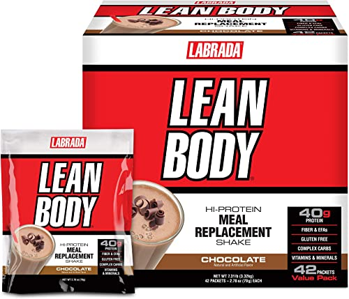 Lean Body MRP All-In-One Chocolate Meal Replacement Shake, 40g Protein, Whey Blend, 8g Healthy Fats EFA s Fiber, 22 Vitamins and Minerals , No artificial color, Gluten Free, 42 Packets