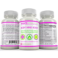 Shape Organics Body Mind Boost Energy Clarity Focus Concentration Mood Attention Brain and Nervous Anti Anxiety Stress Panic Depression Improve Memory Support, Ashwagandha DMAE Ginseng Bacopa Ginkgo