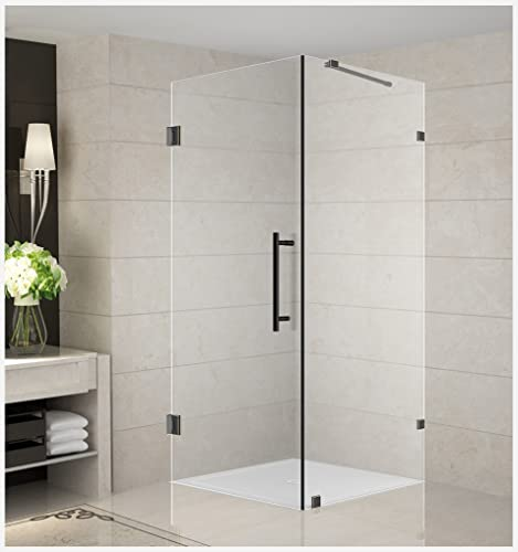 Aston Aquadica 30 x 30 x 72 Completely Frameless Square Hinged Shower Enclosure in Oil Rubbed Bronze