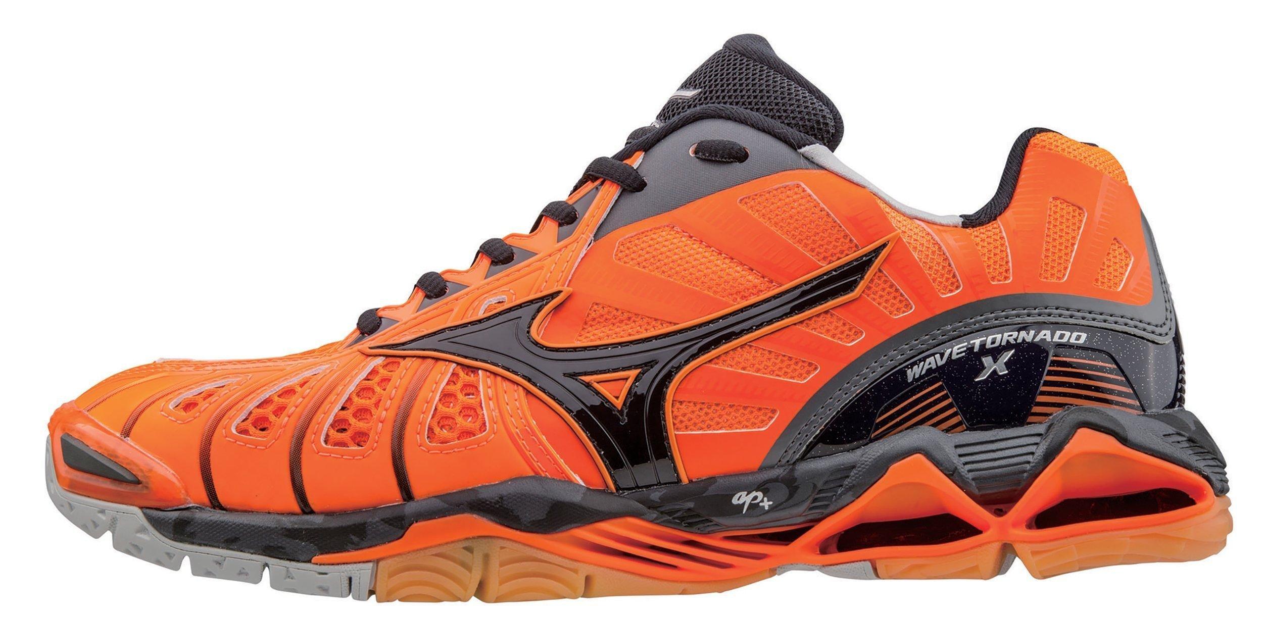 Mizuno Men's Wave Tornado X Volleyball Shoe, Orange/Black, 12.5 D US