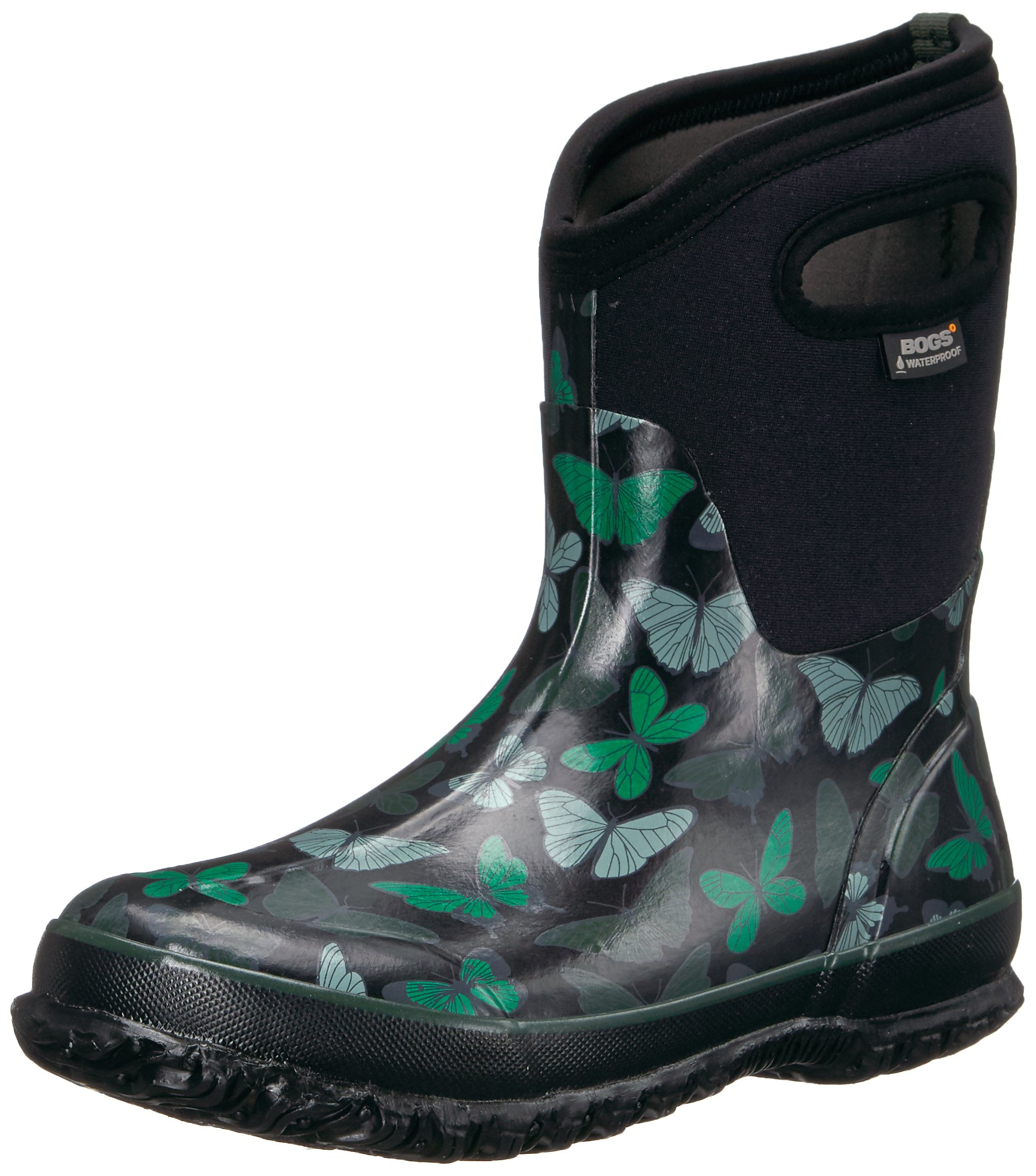 Bogs Women's Classic Butterflies Mid Snow Boot, Black/Multi, 9 M US