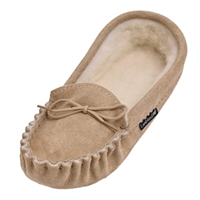 GENTS CAMEL GENUINE SUEDE MOCCASIN SHEEPSKIN SLIPPER SOFT SOLE IN CAMEL GENTS Talla 4 TO 15 391e73