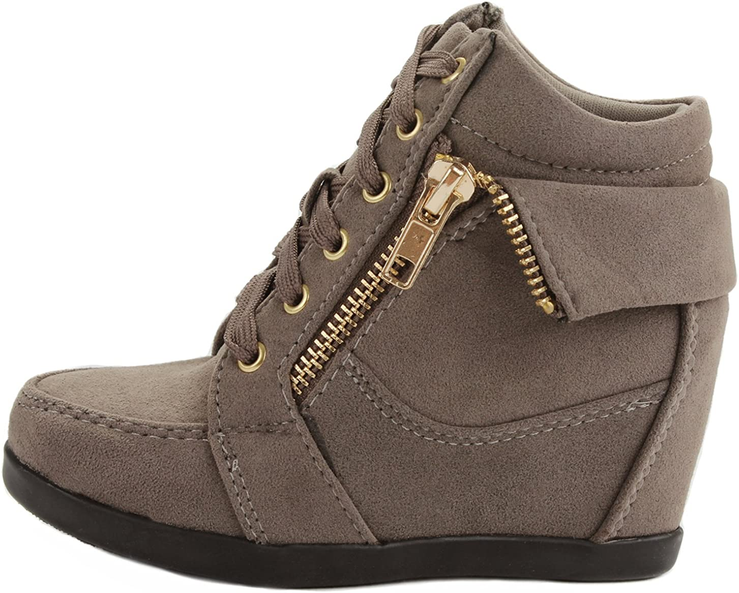 J.J.F Shoes Peter Gladys24 Kids Taupe Fashion Leatherette Suede Lace-up High Top Wedge Sneaker Bootie-9