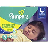 Diapers Size 6 - Pampers Swaddlers Overnights Disposable Baby Diapers, 42 Count, Super Pack