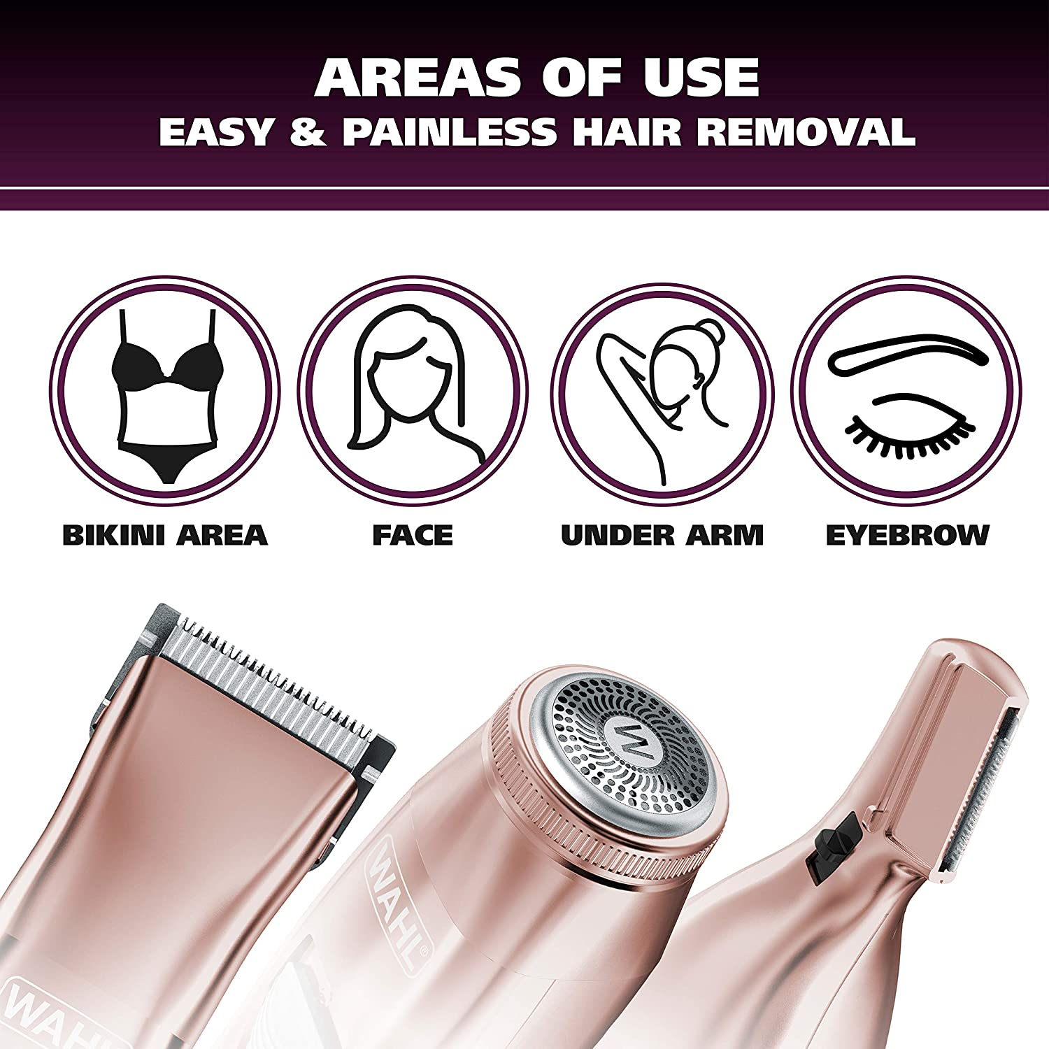 Ladies Electric Shaver, Rechargeable Waterproof Grooming Razor Trimmer for Women