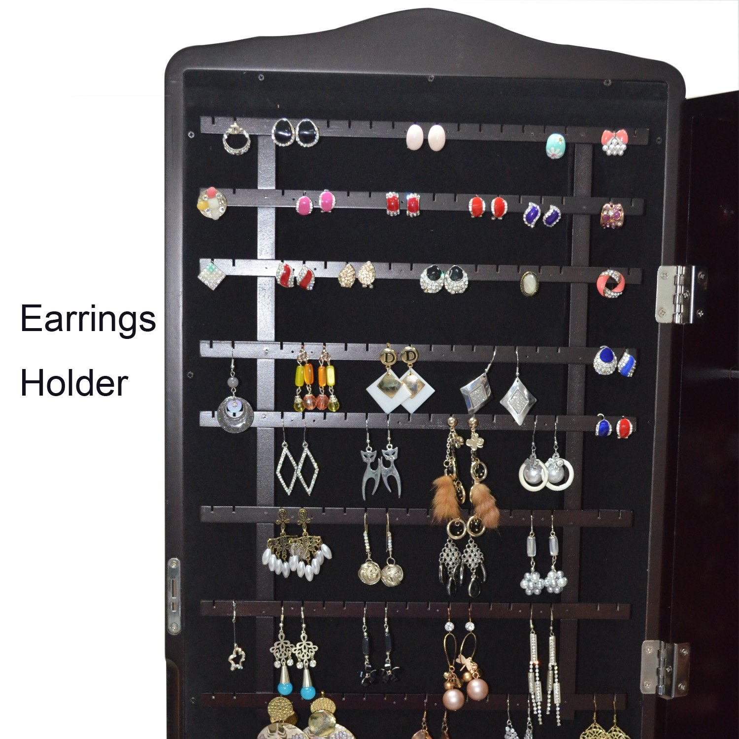 Organizedlife Brown Jewelry Cabinet Full Length Mirror Armoire Free Stand Large Cosmetic Organizer by Organizedlife (Image #5)