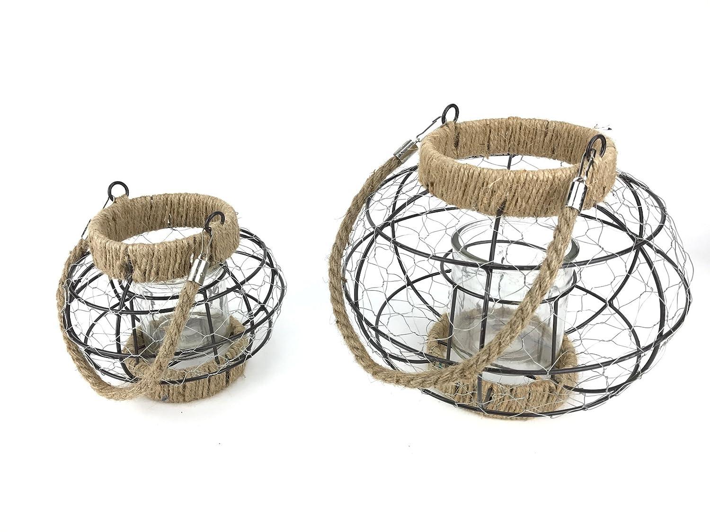 Rustikale Windlichter - 2er Set - aus Drahtgeflecht mit Glas: Amazon ...