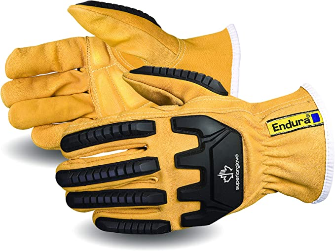 Superior Goatskin Leather Safety Work Gloves - Anti-Impact Backing Hand Protection - Oil and Water Repellent (378GKVSB - 1 Pair) Size Large - - Amazon.com