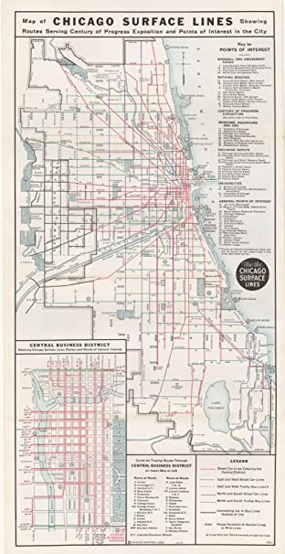 Amazoncom Chicago Transit Maps Chicago Surface Line 193424in x