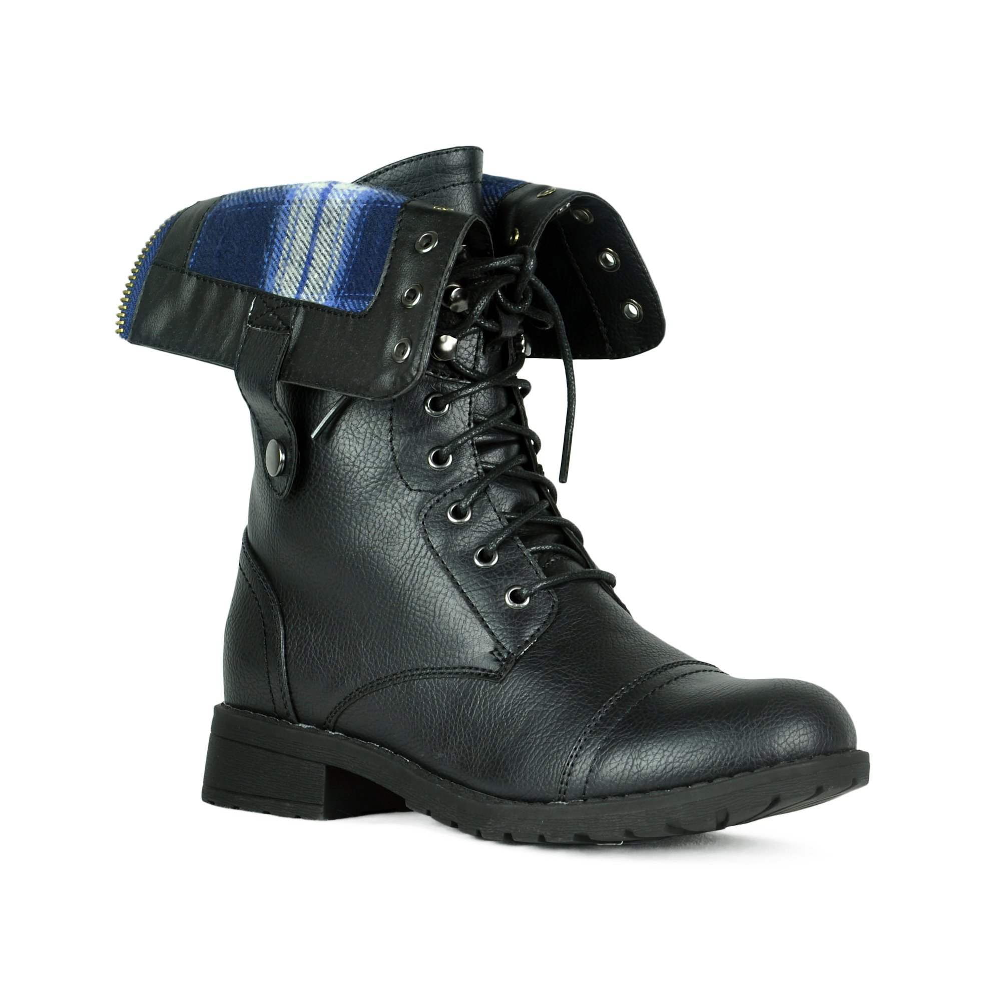 Women's Winter Combat Booties Ankle to Mid Calf Lug Sole Stacked Heel Military Motorcycle Boots Black 10
