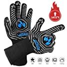 VACNITE BBQ Grill Gloves Extreme Heat Resistant 1472℉, 14 Inch Long Cuff Protective Grilling Gloves for Cooking, Barbecue, Insulated Kitchen Oven Mitts for Men, Food Grade Silicone Pothold- A Pair