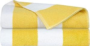 GLAMBURG 2 Pack Cabana Stripe Beach Pool Bath Towel Set 30X60, 100% Ringspun Cotton Towels,Large Oversized Beach Towels,Beach Bath Towel,Beach Blanket, Highly Absorbent Large Bath Towel - Yellow