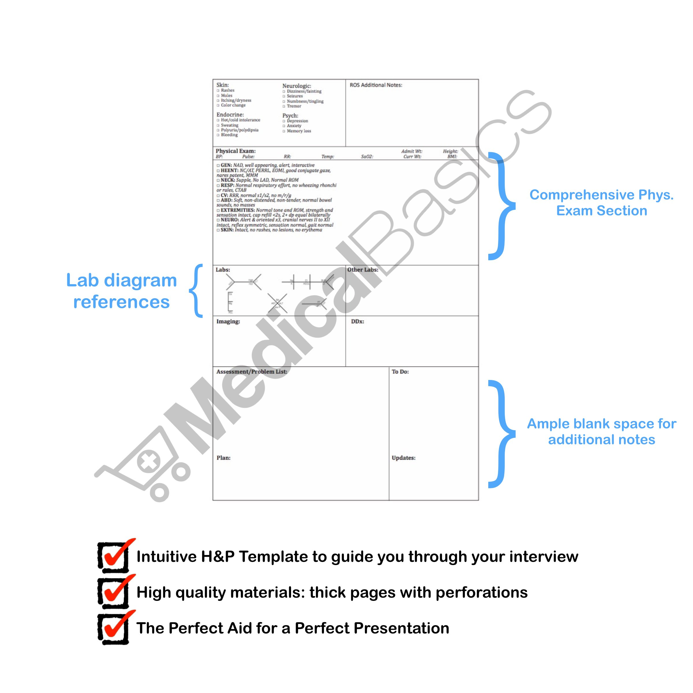 H&P notebook (3 pack) - Medical History and Physical notebook, 100 medical templates with perforations by Medical Basics (Image #4)