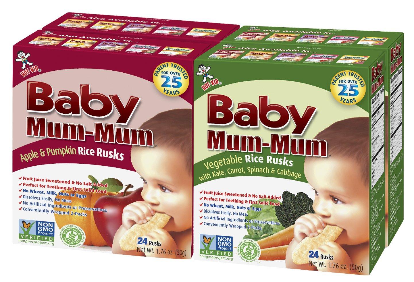 Hot-Kid Baby Mum-Mum Rice Rusks, 2 Flavor Variety Pack, 24 Pieces (Pack of 4) 2 Each: Apple & Pumpkin, Vegetable Gluten Free, Allergen Free, Non-GMO, Rice Teether Cookie