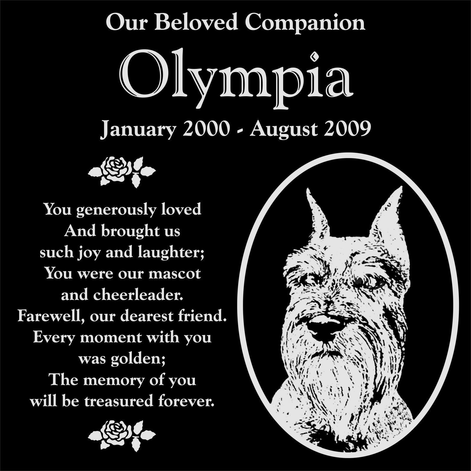 Lazzari Collections Personalized Schnauzer Dog Pet Memorial 12''x12'' Engraved Black Granite Grave Marker Head Stone Plaque OLY1 by Lazzari Collections