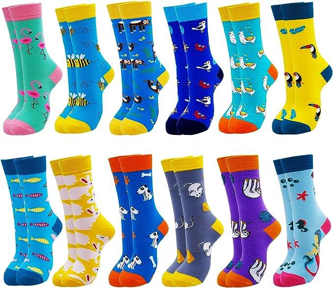 Jielucix Chaussette Femmes Fantaisie Humour Chaussettes Rigolotes Coton Originales Couleur de Lot 6//12 Cadeau Femme