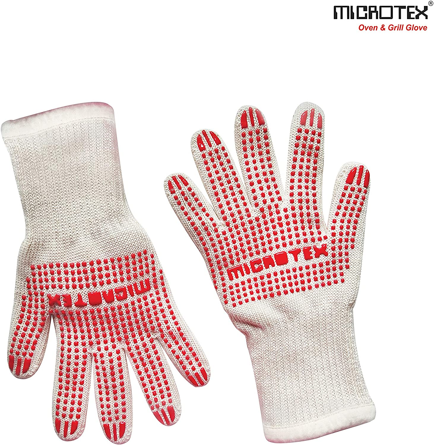 Microtex Oven & Grill Gloves, Resistant BBQ Oven Safety Gloves- Food Grade Cook Gloves, Non-Slippery Silicone Grip, Extra Wrist Protection, 12 inches Cuff, Light Weight Handy Hook
