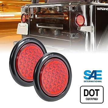 Amazoncom 2pc OLS 4 Round RED LED Trailer Tail Lights  24 LED