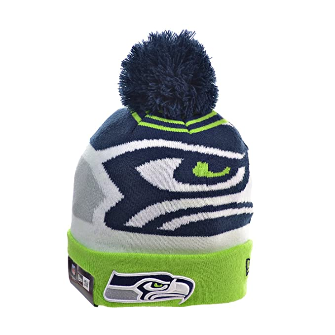0c4b7b9bed8 Amazon.com   New Era Seattle Seahawks Logo Whiz 2 Cuffed Pom Knit ...