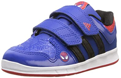 a4a698dae01333 Infant Boys adidas Lk Spiderman Trainers In Blue-Velcro Fastening-Cushioned  Ankle And