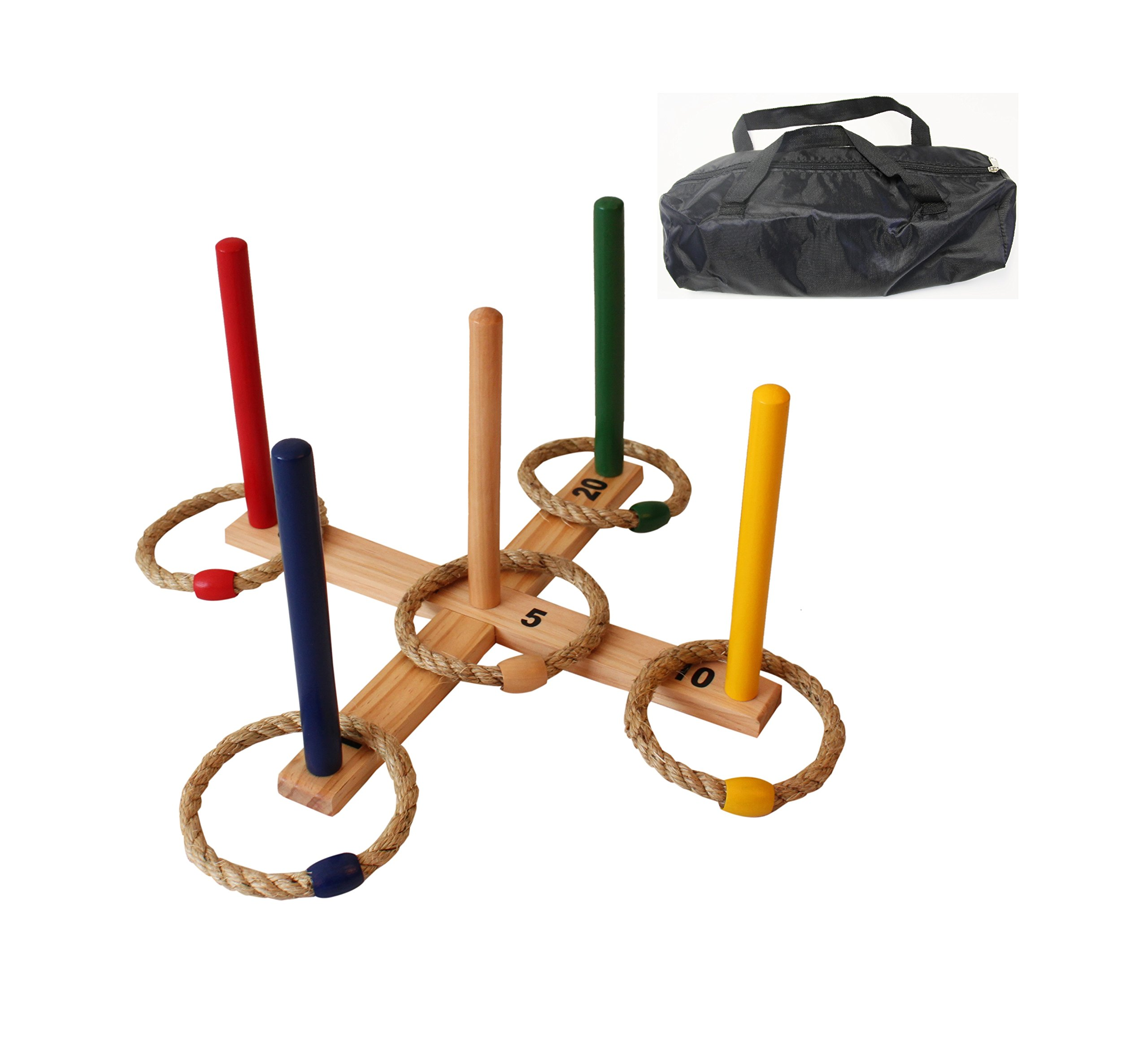 Oojami Ring Toss Game - Children's or Family Outdoor Quoits Game - Compact Carry Bag Included by Oojami