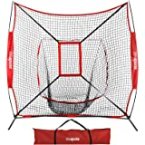 ZENY 7'×7' Baseball Softball Practice Net w/Strike Zone Hitting Batting Catching Pitching Training Net w/Carry Bag…