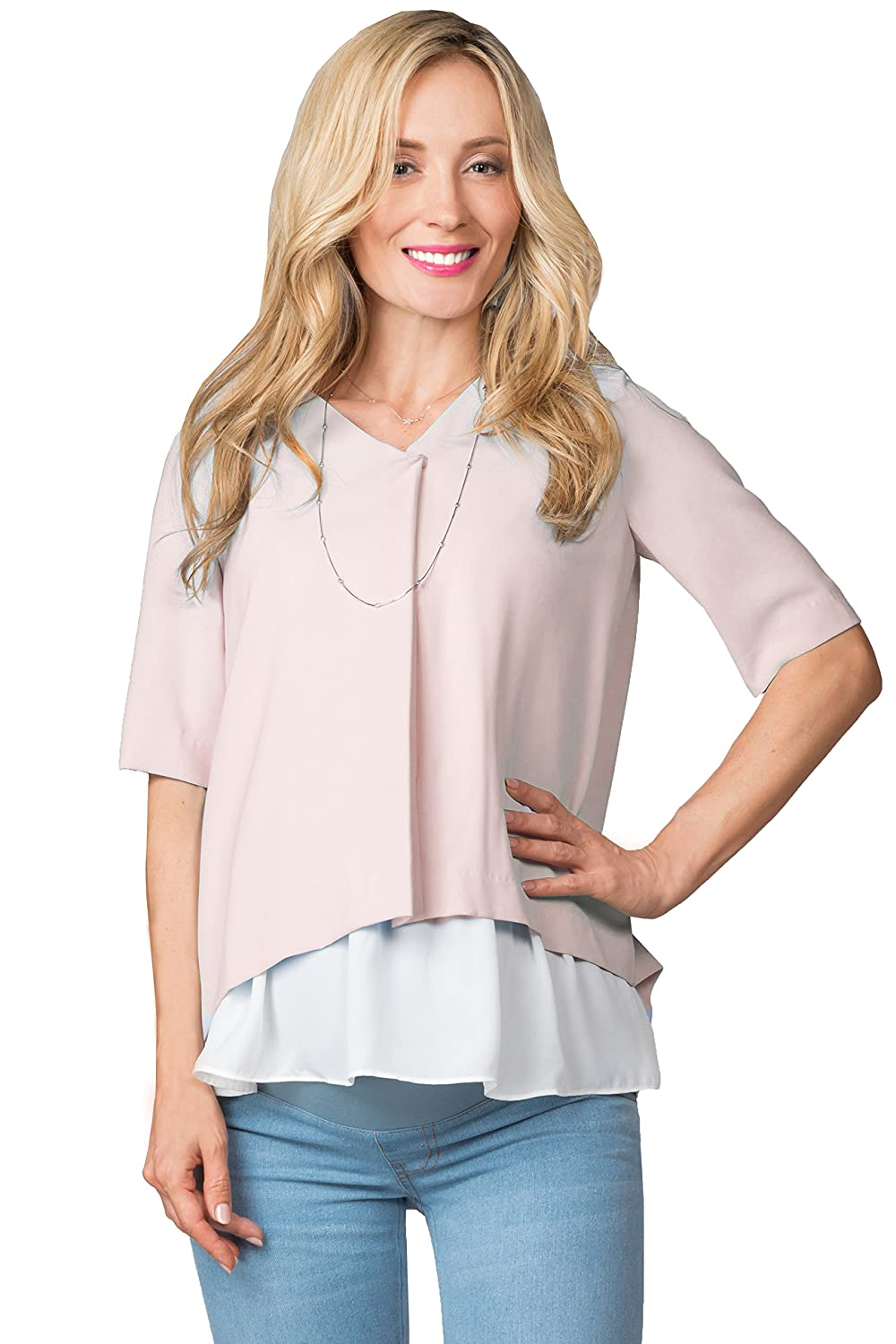 Sweet Mommy Maternity and Nursing Front Fold Pleated Back Blouse Top Sweet Mommy Co. Ltd st7033