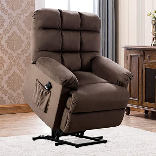 ANJ Power Lift Recliner Chair Safety Motion Reclining Chair for Elderly – Heavy Duty Fabric Overstuffed Sofa for Living Room with Side Pocket Chocolate