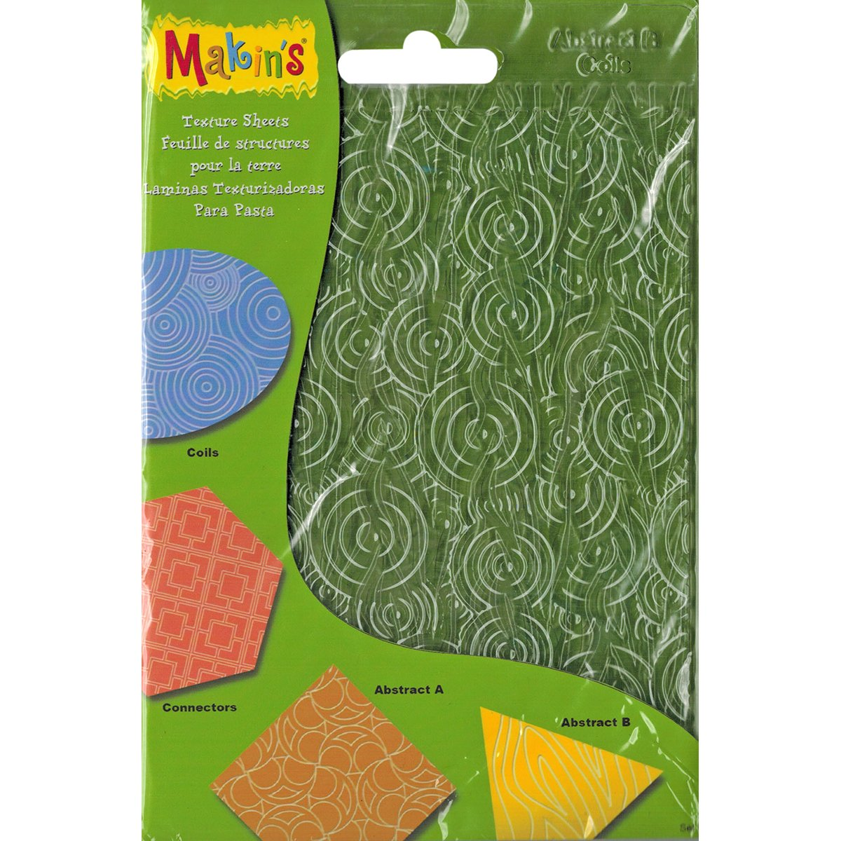Makin's USA Clay Texture Sheets 7X5.5 4/Pkg-Set H (Coils, Connectors & Abstracts) Makin's USA M380-8