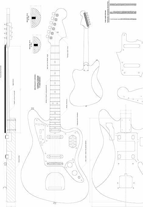 Fender Jaguar guitarra Planes – Escala completa diseño dibujos ...