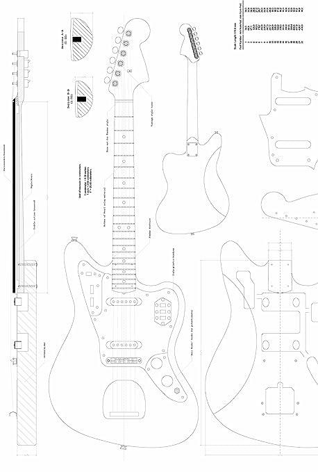 Fender Jaguar guitarra Planes – Escala completa diseño dibujos – para hacer guitarras