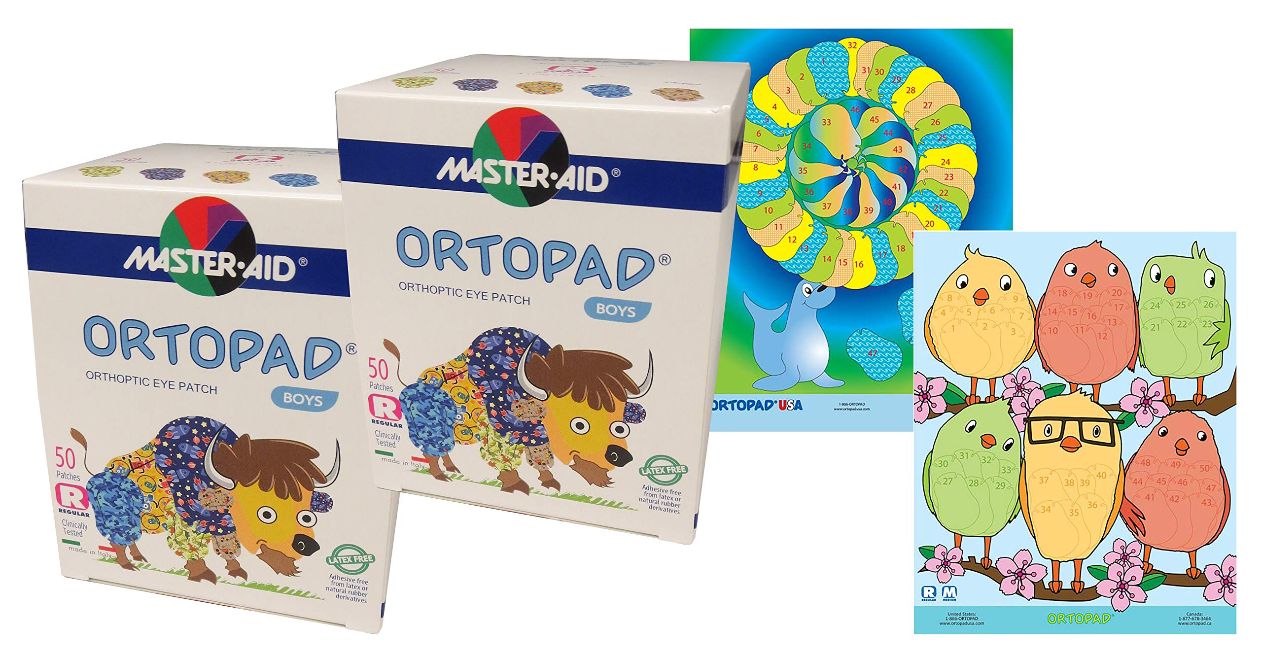 Ortopad® Bamboo 100-Pack for Boys, Adhesive Eye Patches, Regular Size, 2 Posters Included by Ortopad