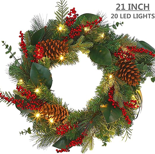 Amazon Com Maoyue Christmas Wreath With Led Lights 21 Inches Red