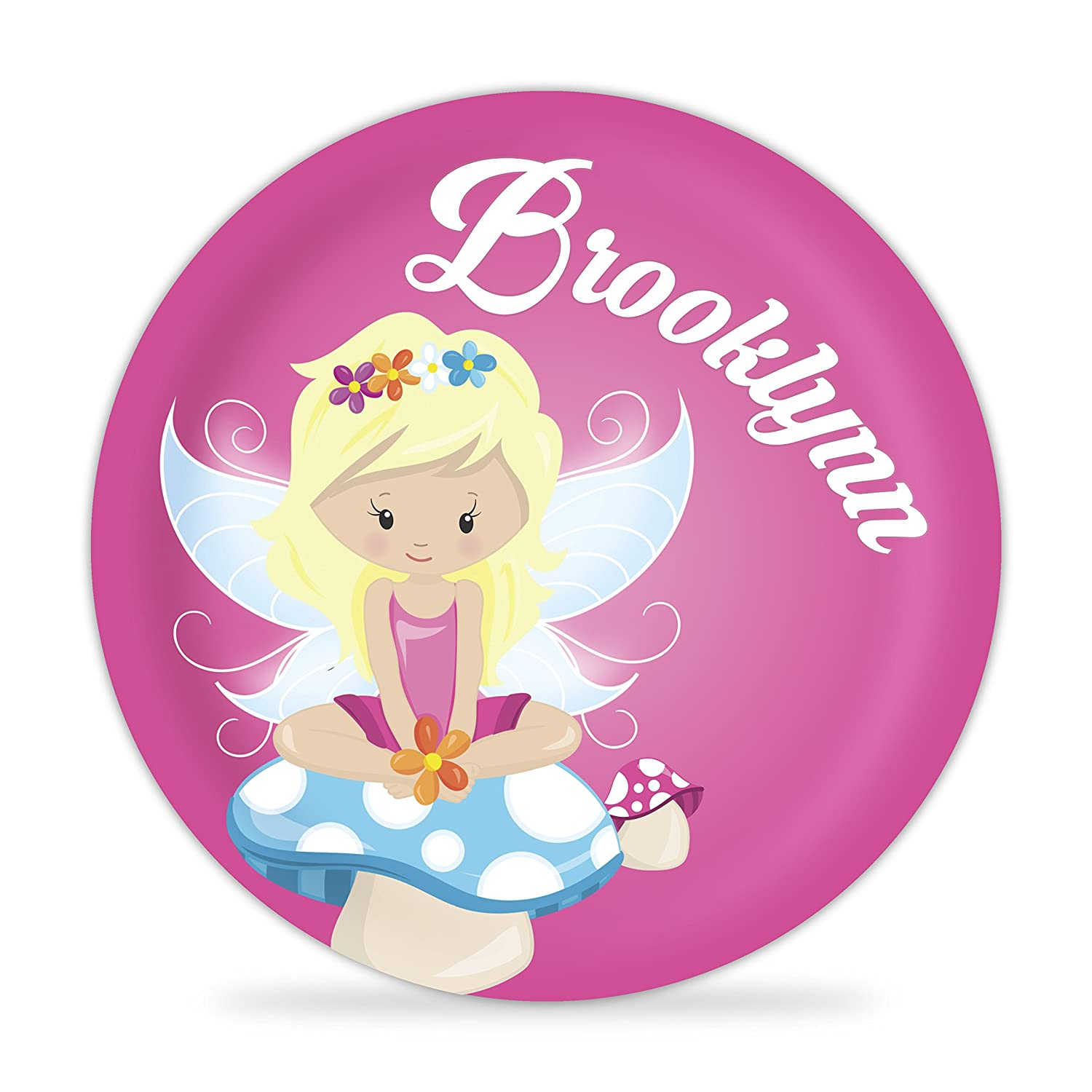 Fairy Plate - Cute Pink Girl Fairy Melamine Personalized Plate