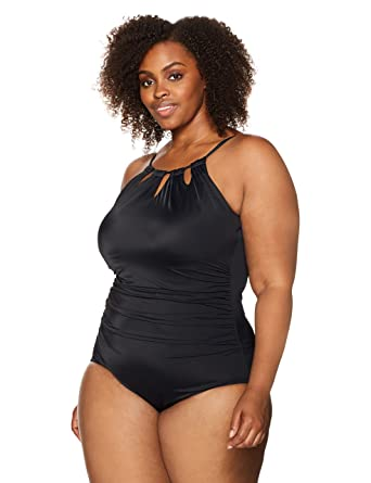 2c22cb21aa Coastal Blue Women s Plus Size Control Swimwear Cutout-Neck One Piece  Swimsuit
